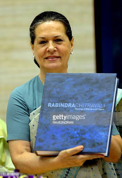 Congressled UPA government chairperson Sonia Gandhi releases 'Rabindra Chitrawali' a book of paintings by Bengali poet Rabindranath Tagore during the...