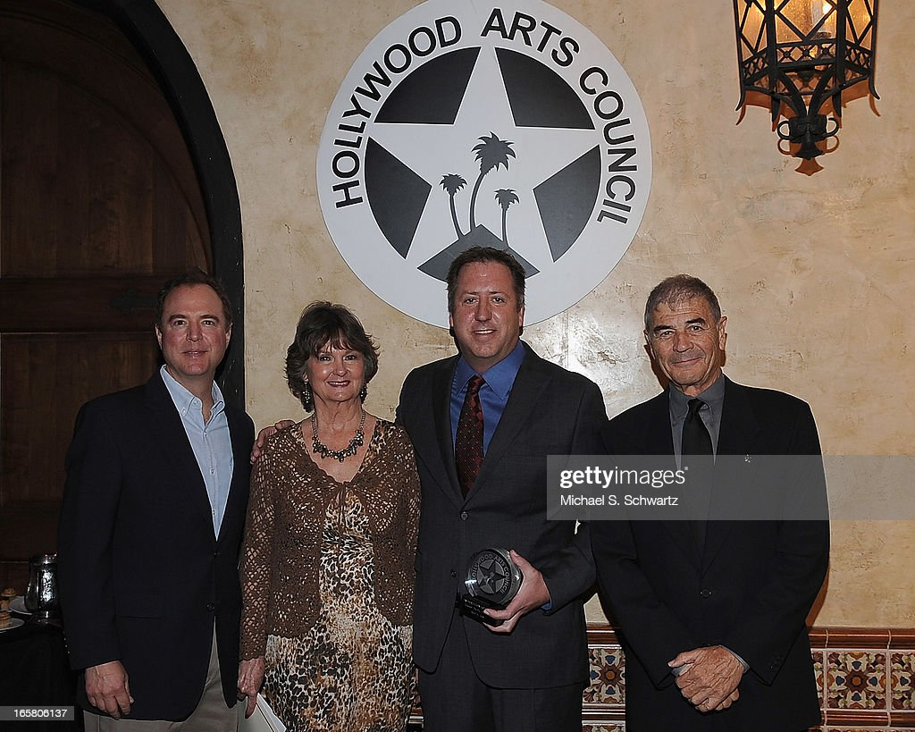 Congressman Adam Schiff, Hollywood Arts Council President Nyla Arslanian, Executive Vice President of Operations and Development Hudson Properties Christopher J. Barton, accepting the Preservation Arts Charlie Award and actor Robert Forster attend the Hollywood Arts Council's 27th Annual Charlie Awards Luncheon at the Hollywood Roosevelt Hotel on April 5, 2013 in Hollywood, California.