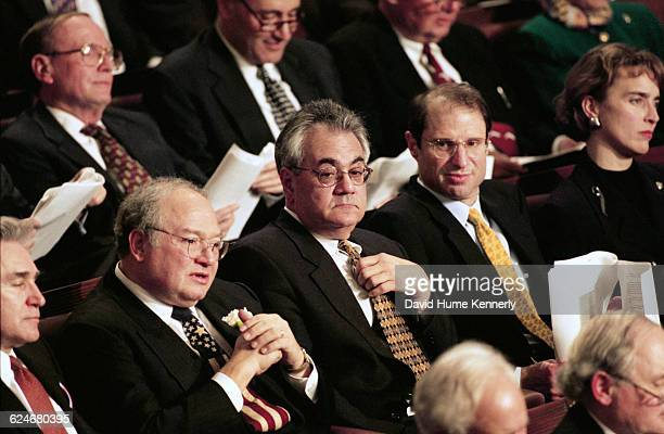 Congressman Barney Frank surround by fellow lawmakers during President Bill Clinton's State of the Union speech before a joint session of Congress on...