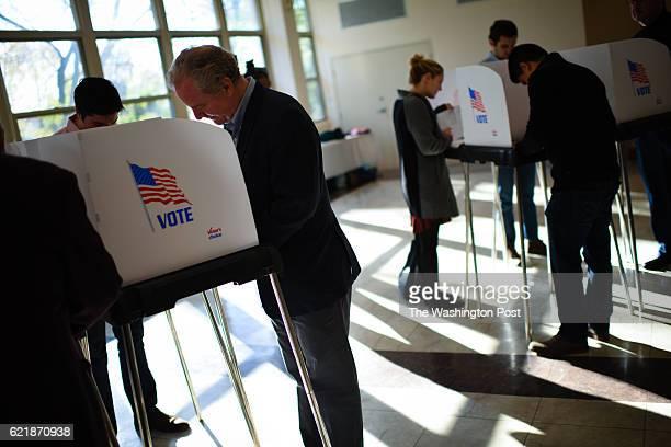 Congressman Chris Van Hollen Democrat candidate for US Senate votes at his precinct Temple Emanuel in Kensington Maryland on Tuesday November 8 2016