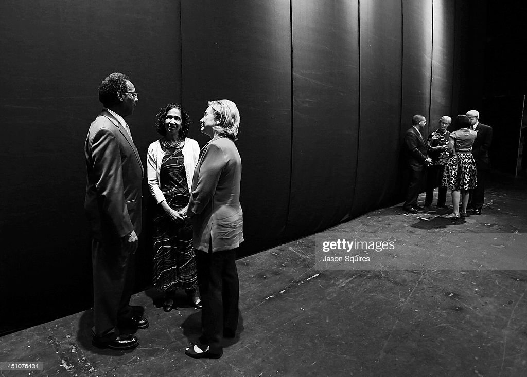 Congressman Emanuel Cleaver and his wife Dianne speak with former US Secretary of State Hillary Rodham Clinton during Rainy Day Book Presents Hillary Rodham Clinton at Arvest Bank Theatre at The Midland on June 22, 2014 in Kansas City, Missouri.