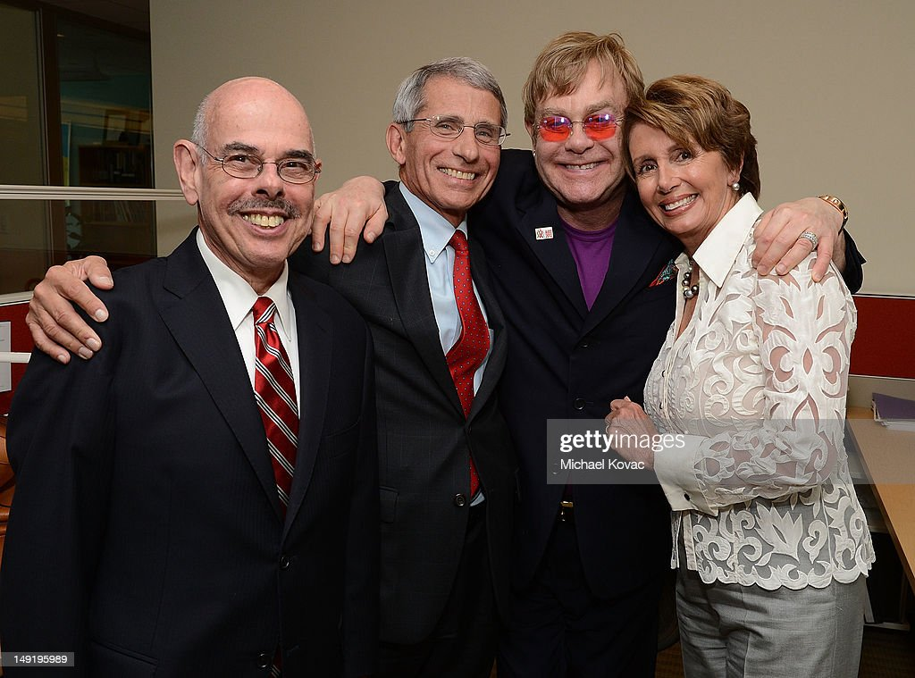 U.S. Congressman <a gi-track='captionPersonalityLinkClicked' href=/galleries/search?phrase=Henry+Waxman&family=editorial&specificpeople=217361 ng-click='$event.stopPropagation()'>Henry Waxman</a> (D-CA), NIAID Director Anthony S. Fauci, M.D., Sir <a gi-track='captionPersonalityLinkClicked' href=/galleries/search?phrase=Elton+John&family=editorial&specificpeople=171369 ng-click='$event.stopPropagation()'>Elton John</a>, U.S. Congresswoman <a gi-track='captionPersonalityLinkClicked' href=/galleries/search?phrase=Nancy+Pelosi&family=editorial&specificpeople=169883 ng-click='$event.stopPropagation()'>Nancy Pelosi</a> (D-CA) attend the Syringe Access Fund Reception at Open Society Foundations on July 24, 2012 in Washington, DC.