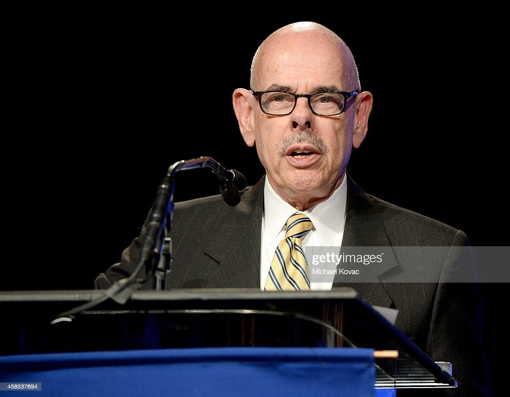 Congressman <a gi-track='captionPersonalityLinkClicked' href=/galleries/search?phrase=Henry+Waxman&family=editorial&specificpeople=217361 ng-click='$event.stopPropagation()'>Henry Waxman</a>, recipient of the ADL Distinguished Public Service Award, presents onstage at the ADL Annual Meeting on November 6, 2014 in Los Angeles, California.
