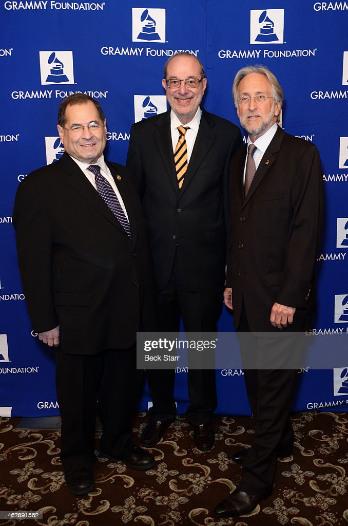 Congressman <a gi-track='captionPersonalityLinkClicked' href=/galleries/search?phrase=Jerrold+Nadler&family=editorial&specificpeople=807892 ng-click='$event.stopPropagation()'>Jerrold Nadler</a>, 2015 ELI Servie Award recipient Russ Frackman and Recording Academy president <a gi-track='captionPersonalityLinkClicked' href=/galleries/search?phrase=Neil+Portnow&family=editorial&specificpeople=208909 ng-click='$event.stopPropagation()'>Neil Portnow</a> attend the 17th Annual Entertainment Law Initiative Luncheon & Scholarship Presentation highlighted by the Grammy Foundation at Fairmont Miramar Hotel on February 6, 2015 in Santa Monica, California.