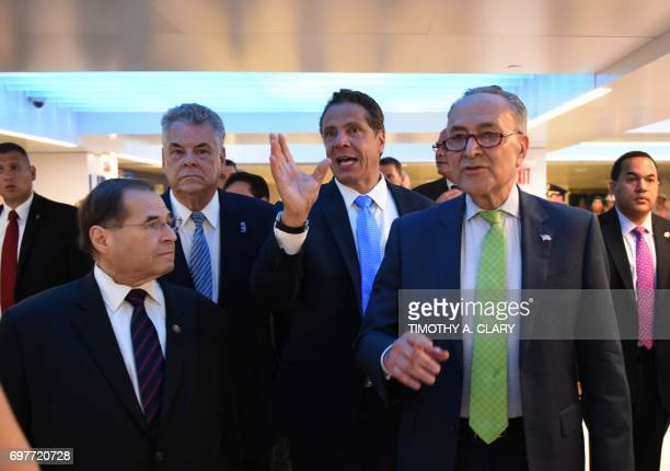 Congressman Jerrold Nadler Congressman Pete King Governor Andrew M Cuomo and Senator Charles Schumer take the press on a tour on June 19 2017 in New...