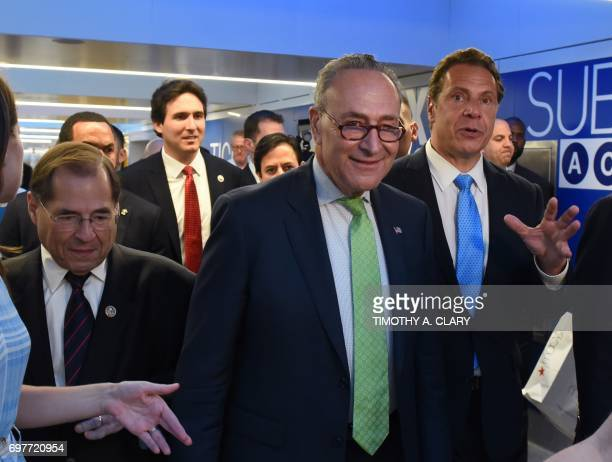 Congressman Jerrold Nadler Governor Andrew M Cuomo and Senator Charles Schumer take the press on a tour on June 19 2017 in New York as they mark the...