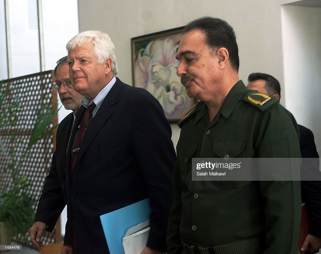 U.S. Congressman Jim McDermott (D-WA) (C) and U.S. Congressman David E. Bonior (D-Mi) (L) meet with Iraqi Health Minister Umeed Madhat Mubarak (R) September 27, 2002 in Baghdad, Iraq. McDermott, Bonior and U.S. Congressman Mike Thompson (D-Ca) are in Iraq on a five-day visit to assess the humanitarian situation and to press for Baghdad to allow complete access to UN weapons inspectors to stave off a U.S. military intervention.