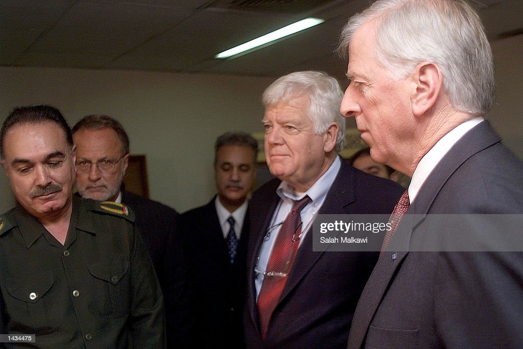 U.S. Congressman Jim McDermott (D-WA) (C) and U.S. Congressman Mike Thompson (D-Ca) (R) meet with Iraqi Health Minister Umeed Madhat Mubarak (L) September 27, 2002 in Baghdad, Iraq. McDermott, Thompson and U.S. Congressman David E. Bonior (D-Mi) are in Iraq on a five-day visit to assess the humanitarian situation and to press for Baghdad to allow complete access to UN weapons inspectors to stave off a U.S. military intervention.