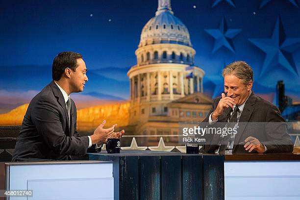 Congressman Joaquin Castro and host Jon Stewart at 'The Daily Show with Jon Stewart' covers the Midterm elections in Austin with 'Democalypse 2014...