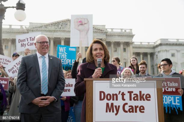 Congressman Joe Crawley and Congresswoman Nancy Pelosi speaks at the 'Kill The Bill' Rally To Demand The House GOP Vote 'No' On Trumpcare at the...