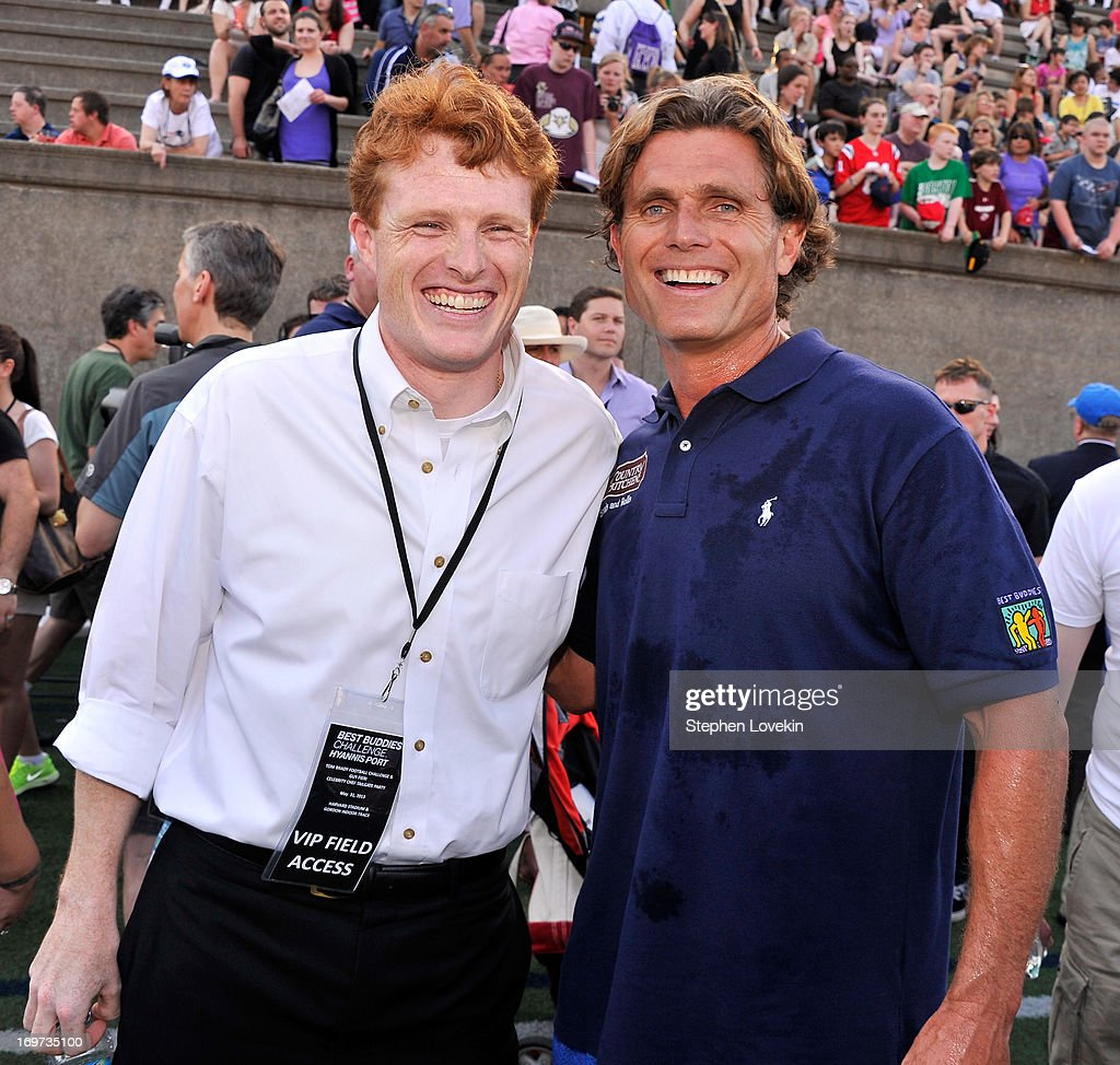 U.S. Congressman Joe Kennedy (L) and Anthony Kennedy Shriver, Founder and Chairman of Best Buddies International, attend the Tom Brady Football Challenge for the Best Buddies Challenge: Hyannis Port on May 31, 2013 in Boston, Massachusetts.