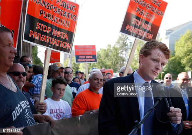 Congressman Joe Kennedy speaks at an MBTA mechanics campaign kick off event to support public transit workers who are opposed to privatization in...