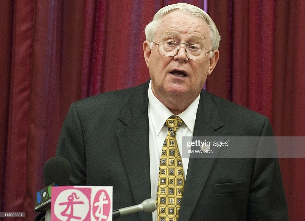Congressman Joe Pitts RPA speaks during a press conferenceon Capitol Hill in Washington DC June 1 calling for an end to gendercide The event was also...