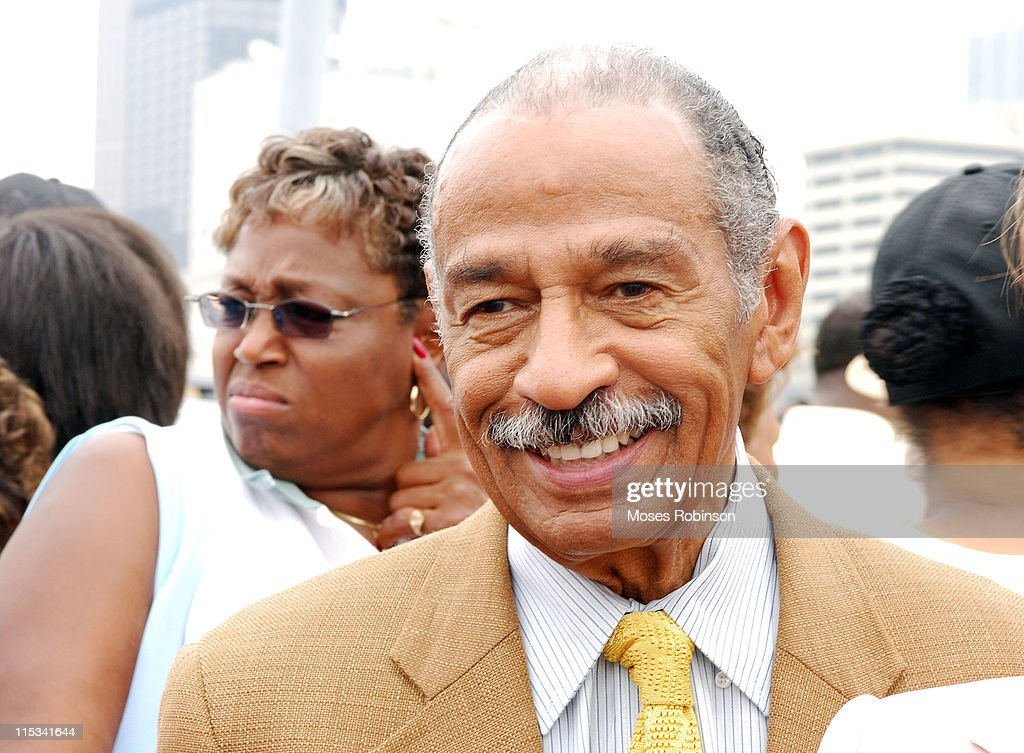 Congressman <a gi-track='captionPersonalityLinkClicked' href=/galleries/search?phrase=John+Conyers&family=editorial&specificpeople=217823 ng-click='$event.stopPropagation()'>John Conyers</a> during 40th Anniversary of the Voting Rights Act - March for Voting Rights, Jobs, Justice, & Peace August 6, 2005 at Martin Luther King Dr in Atlanta, GA, United States.