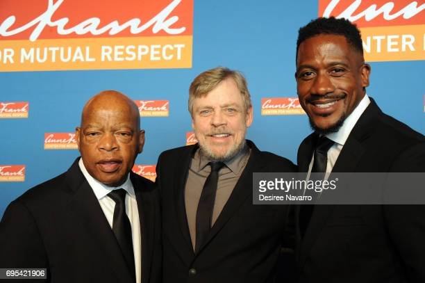 Congressman John Lewis actor Mark Hamill and Chief of Staff Michael Collins attend the 2017 Anne Frank Center Honors Gala at 4 World Trade Center on...