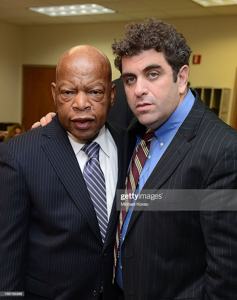 Congressman John Lewis (L) and director/writer <a gi-track='captionPersonalityLinkClicked' href=/galleries/search?phrase=Eugene+Jarecki&family=editorial&specificpeople=221663 ng-click='$event.stopPropagation()'>Eugene Jarecki</a> attend 'The House I Live In' Washington DC screening at Shiloh Baptist Church on January 19, 2013 in Washington, DC.