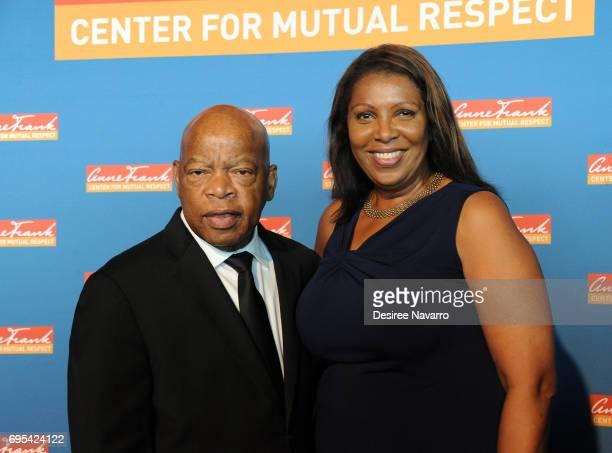 Congressman John Lewis and New York Public Advocate Letitia James attend the 2017 Anne Frank Center Honors Gala at 4 World Trade Center on June 12...