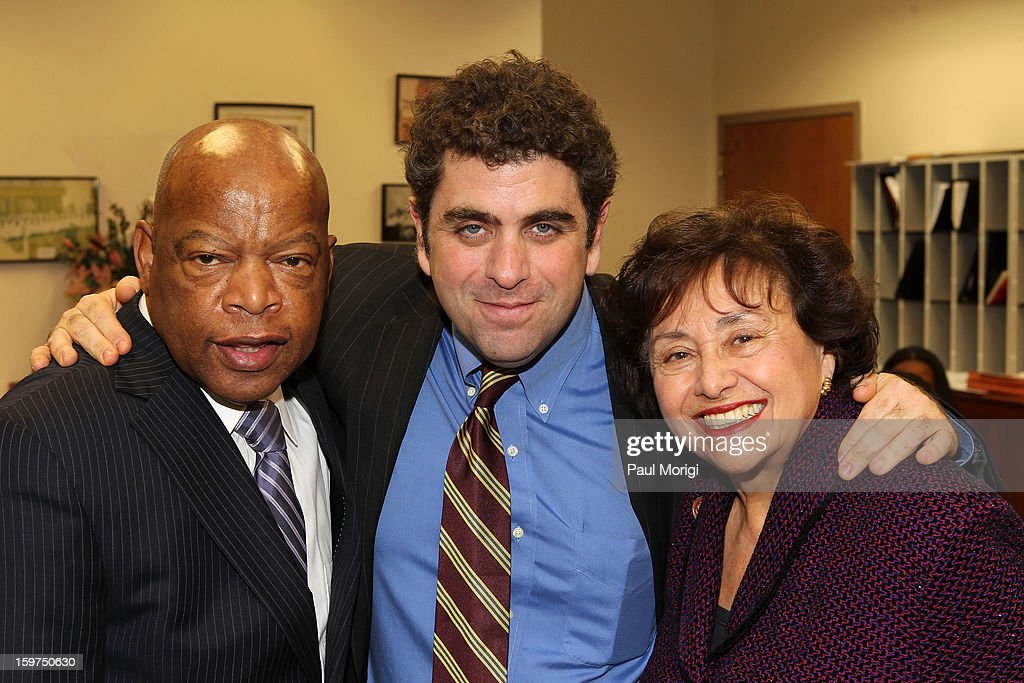 Congressman John Lewis (L), Director/writer <a gi-track='captionPersonalityLinkClicked' href=/galleries/search?phrase=Eugene+Jarecki&family=editorial&specificpeople=221663 ng-click='$event.stopPropagation()'>Eugene Jarecki</a> and Congresswoman <a gi-track='captionPersonalityLinkClicked' href=/galleries/search?phrase=Nita+Lowey&family=editorial&specificpeople=878051 ng-click='$event.stopPropagation()'>Nita Lowey</a> pose for a photo at 'The House I Live In' Washington DC Screening And Performance By John Legend at Shiloh Baptist Church on January 19, 2013 in Washington, DC.