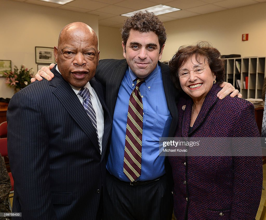Congressman John Lewis, director/writer <a gi-track='captionPersonalityLinkClicked' href=/galleries/search?phrase=Eugene+Jarecki&family=editorial&specificpeople=221663 ng-click='$event.stopPropagation()'>Eugene Jarecki</a>, and Congresswoman <a gi-track='captionPersonalityLinkClicked' href=/galleries/search?phrase=Nita+Lowey&family=editorial&specificpeople=878051 ng-click='$event.stopPropagation()'>Nita Lowey</a> attend 'The House I Live In' Washington DC screening at Shiloh Baptist Church on January 19, 2013 in Washington, DC.