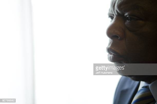 Congressman John Lewis is photographed in his offices in the Canon House office building on March 17 2009 in Washington DC The former Big Six leader...