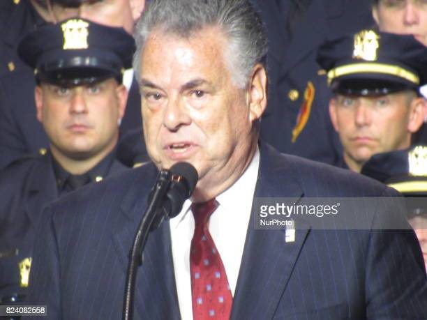 Congressman Peter King gives remarks to Federal State and local law enforcement on July 28 2017 in Brentwood NY