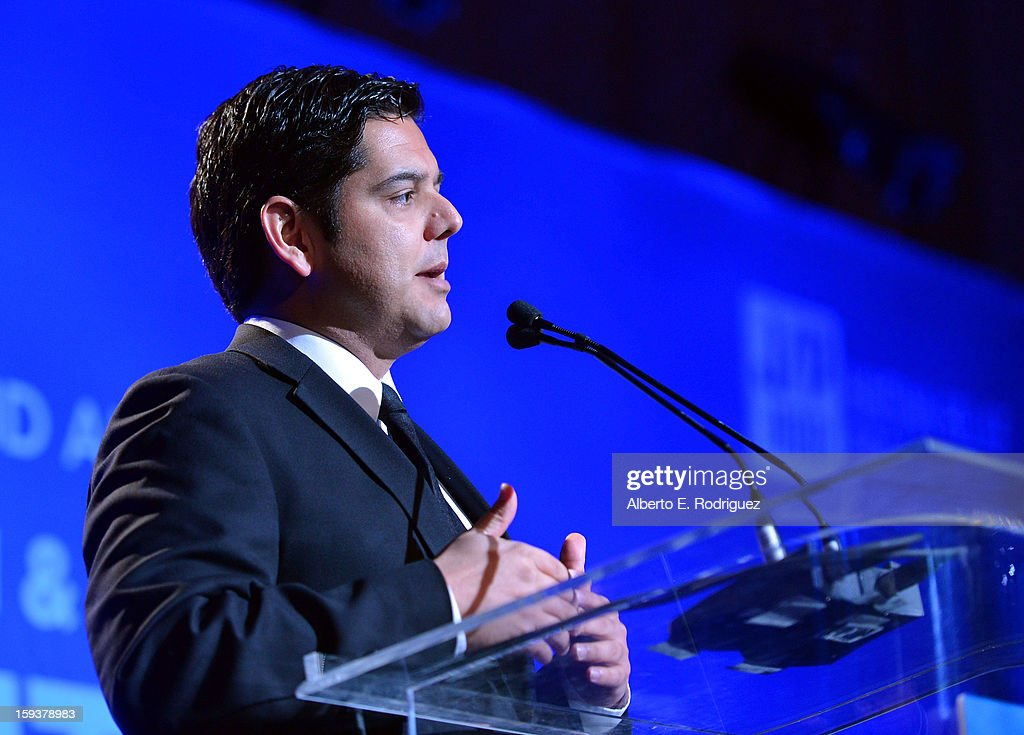 Congressman Raul Ruiz speaks during the 2nd Annual Sean Penn and Friends Help Haiti Home Gala benefiting J/P HRO presented by Giorgio Armani at...