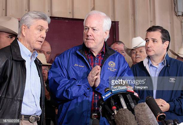 Congressman Roger Williams left speaks with reporters about the West Texas fertilizer plant explosion as Senators John Cornyn center and Ted Cruz...