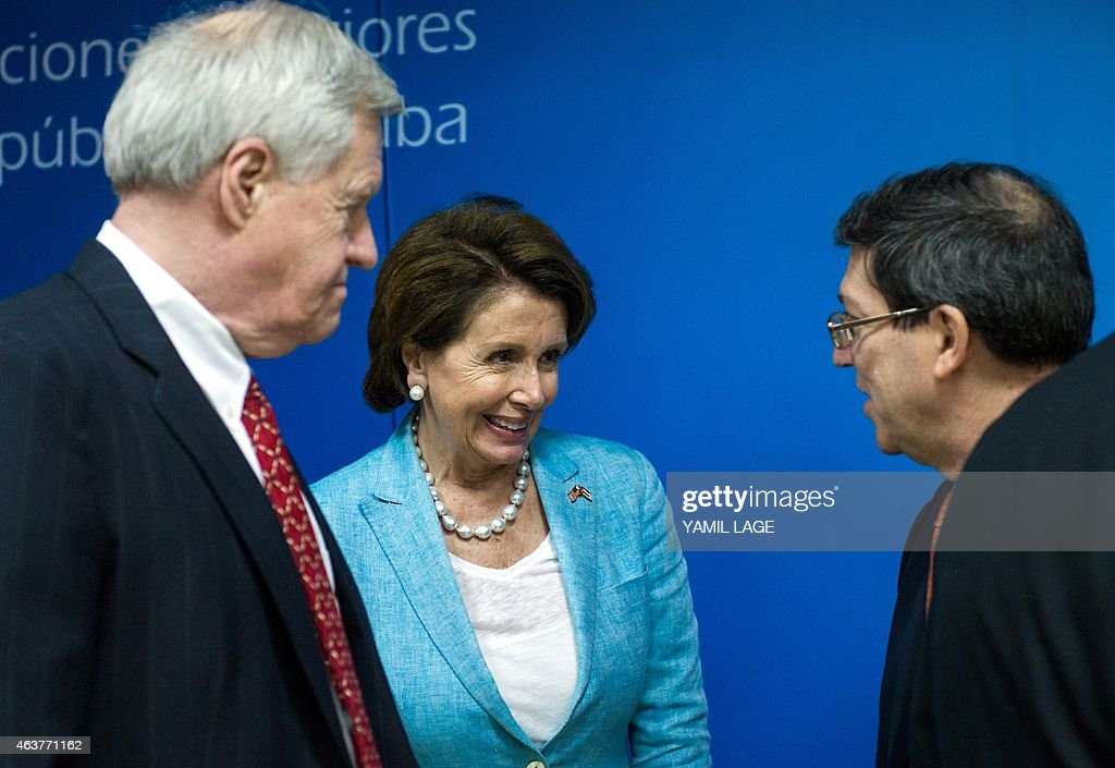 US Congressman Steve Israel (L) and the Minority Leader of the United States House of Representatives <a gi-track='captionPersonalityLinkClicked' href=/galleries/search?phrase=Nancy+Pelosi&family=editorial&specificpeople=169883 ng-click='$event.stopPropagation()'>Nancy Pelosi</a> talk with Cuban Foreign Minister Bruno Rodriguez (R) at the Foreign Ministry in Havana, on February 18, 2015. Washington and Havana announced last month they were beginning the process of restoring diplomatic ties after 50 years of bitter disagreements. AFP PHOTO/Yamil LAGE