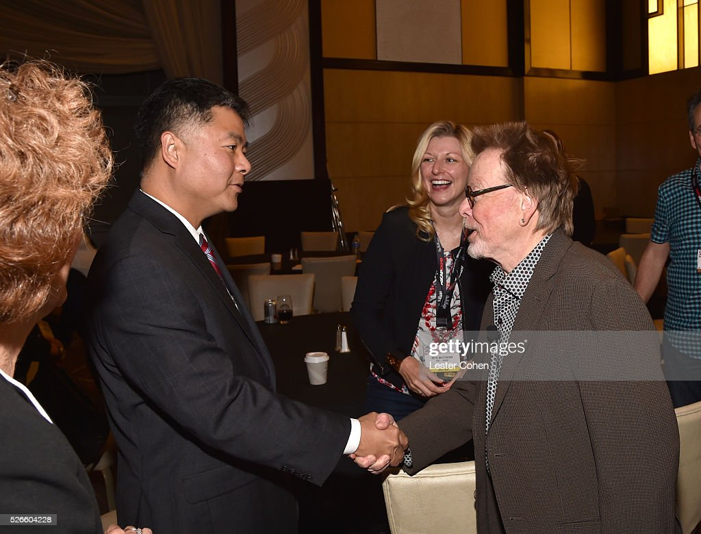 Congressman Ted Lieu greets ASCAP CEO <a gi-track='captionPersonalityLinkClicked' href=/galleries/search?phrase=Beth+Matthews&family=editorial&specificpeople=13901421 ng-click='$event.stopPropagation()'>Beth Matthews</a> and ASCAP President/Chairman <a gi-track='captionPersonalityLinkClicked' href=/galleries/search?phrase=Paul+Williams+-+Songwriter&family=editorial&specificpeople=5853768 ng-click='$event.stopPropagation()'>Paul Williams</a> during the 2016 ASCAP 'I Create Music' EXPO on April 30, 2016 in Los Angeles, California.
