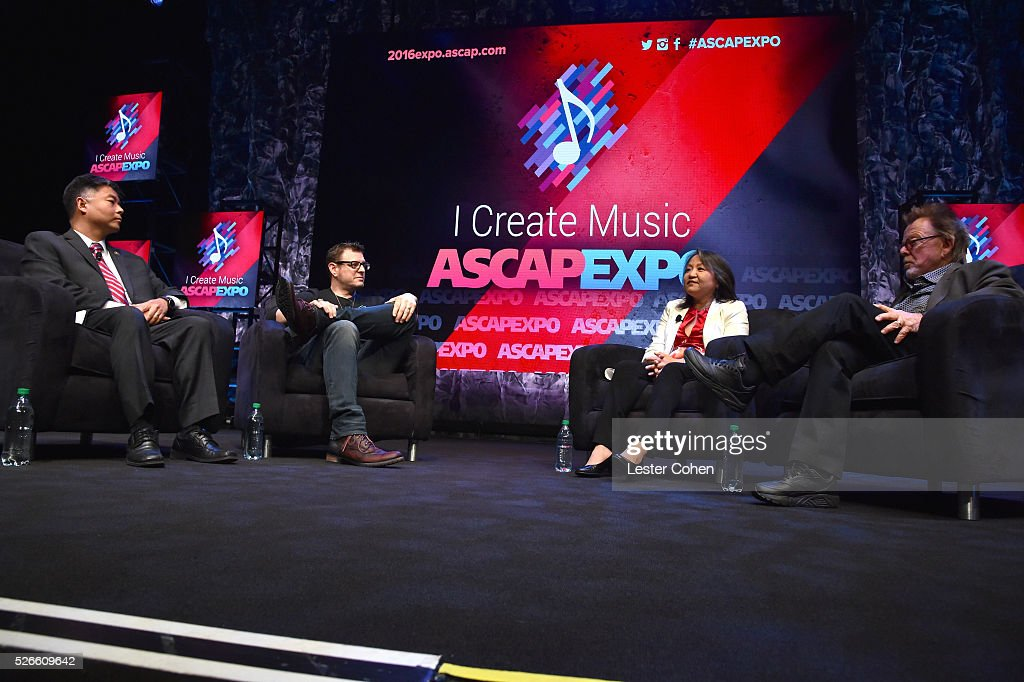 Congressman Ted Lieu, songwriter Kevin Kadish, ASCAP EVP & General Counsel, Business and Legal Affairs, Clara Kim and ASCAP President/Chairman Paul Williams speak onstage during the 'Your Music, Your Rights' panel, part of the 2016 ASCAP 'I Create Music' EXPO on April 30, 2016 in Los Angeles, California.