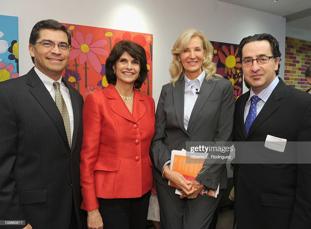 Congressman <a gi-track='captionPersonalityLinkClicked' href=/galleries/search?phrase=Xavier+Becerra&family=editorial&specificpeople=2369133 ng-click='$event.stopPropagation()'>Xavier Becerra</a>, congresswoman Lucille Roybal-Allard, Inner City Arts president and CEO Cynthia Harnisch and Maya Entertainment co-chair Jeff Valdez attend a reception at Inner City Arts on October 20, 2010 in Los Angeles, California.