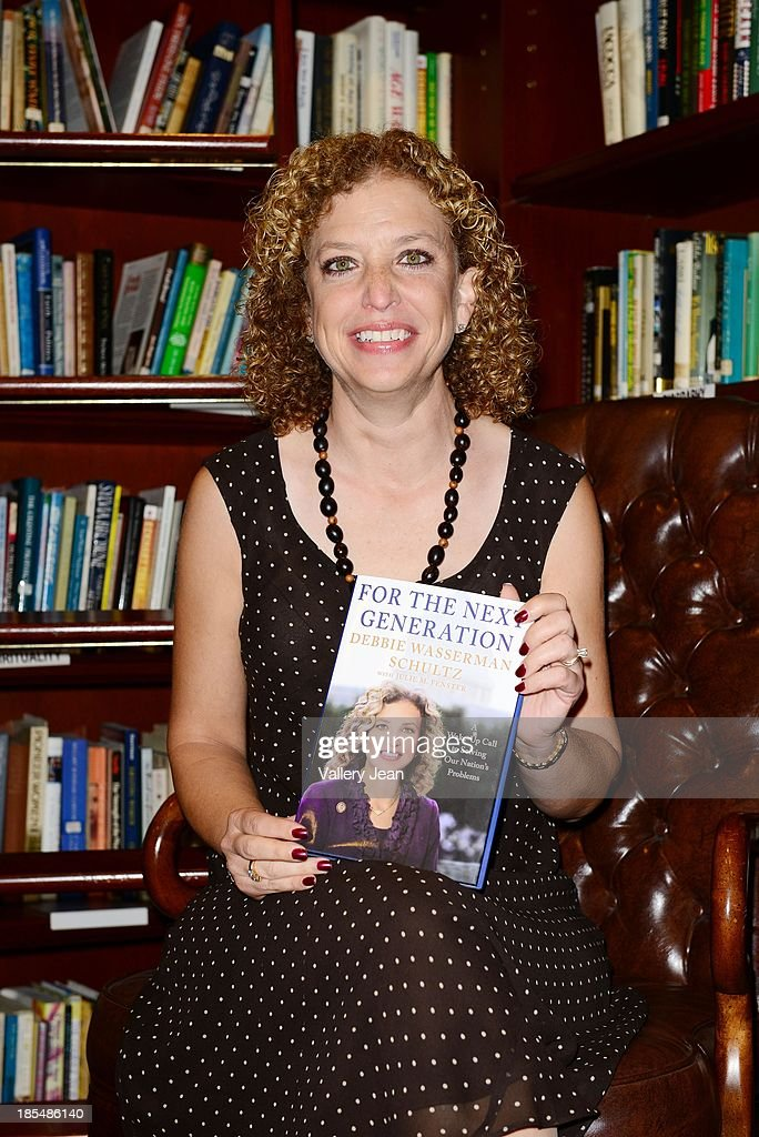 Congresswoman / Author <a gi-track='captionPersonalityLinkClicked' href=/galleries/search?phrase=Debbie+Wasserman+Schultz&family=editorial&specificpeople=2528330 ng-click='$event.stopPropagation()'>Debbie Wasserman Schultz</a> speaks and signs copiesof her book ' For the Next Generation: A Wake-Up Call to Solving Our Nation's Problems' at Coral Gables Congregational Church hosted by Books & Books on October 20, 2013 in Coral Gables, Florida.