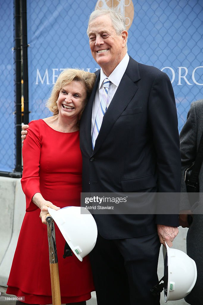 Congresswoman Carolyn B. Maloney and Philanthropist David H. Koch stand in the future site of the new David H. Koch Plaza during the Fifth Avenue Plaza Groundbreaking at the Metropolitan Museum of Art on January 14, 2013 in New York City.