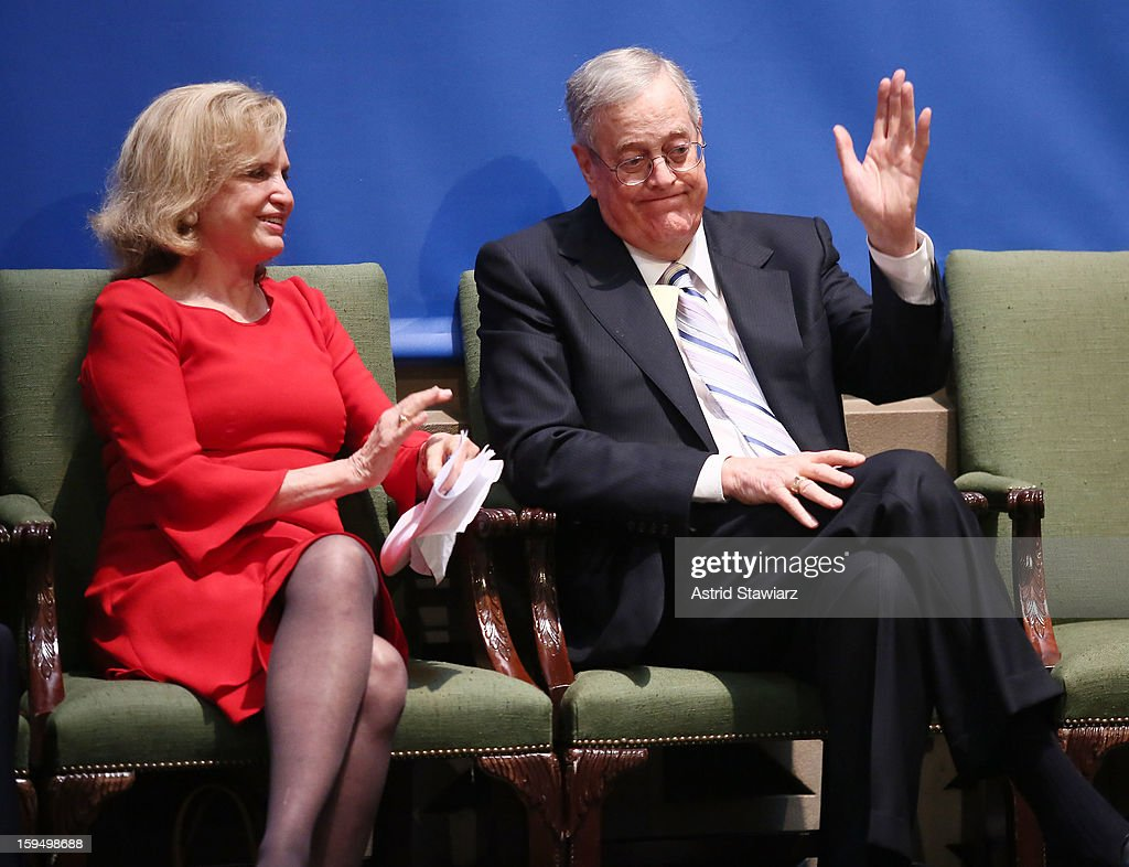 Congresswoman Carolyn B. Maloney and Philanthropist, David H. Koch attend the Fifth Avenue Plaza Groundbreaking at the Metropolitan Museum of Art on January 14, 2013 in New York City.