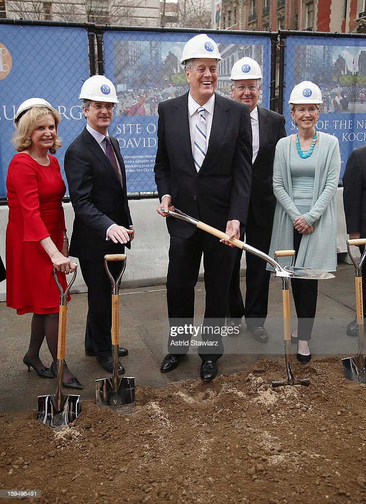 Congresswoman Carolyn B. Maloney, Director of The Metropolitan Museum of Art, Thomas P. Campbell, Philanthropist David H. Koch, Chairman of the Board at the Metropolitan Museum of Art, Daniel Brodsky and President of the Metropolitan Museum of Art, Emily K. Rafferty stand in the future site of the new David H. Koch Plaza during the Fifth Avenue Plaza Groundbreaking at the Metropolitan Museum of Art on January 14, 2013 in New York City.