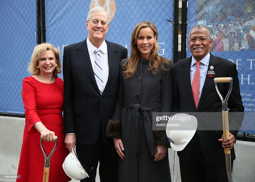 Congresswoman Carolyn B. Maloney, Philanthropist David H. Koch, Julia Koch and New York City Councilman Robert Jackson stand in the future site of the new David H. Koch Plaza during the Fifth Avenue Plaza Groundbreaking at the Metropolitan Museum of Art on January 14, 2013 in New York City.