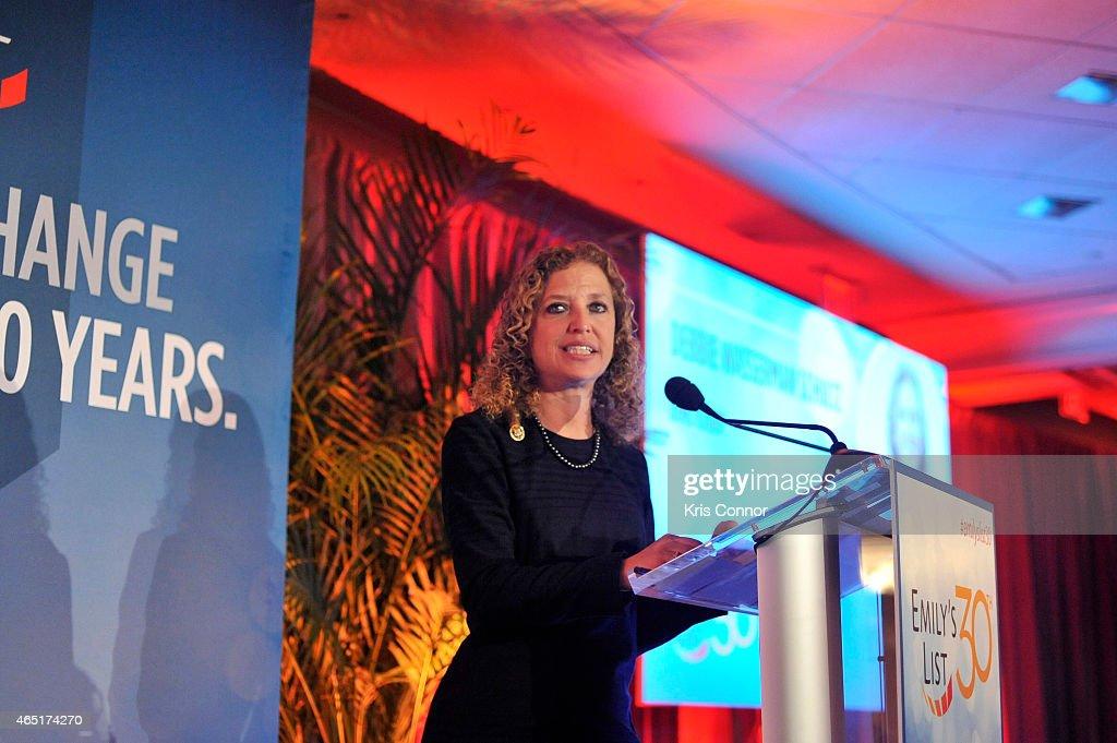 Congresswoman Debbie Wasserman Schultz speaks at EMILY's List 30th Anniversary Gala at Washington Hilton on March 3, 2015 in Washington, DC.