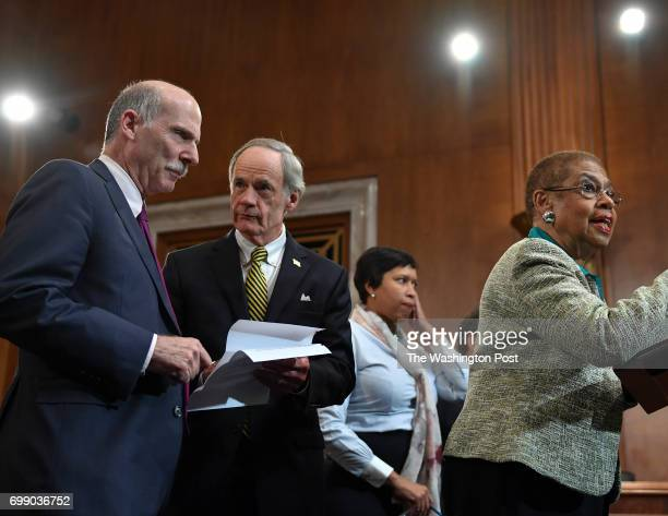Congresswoman Eleanor Holmes Norton speaks as she is flanked by DC Council Chairman Phil Mendelson left Senator Tom Carper second and Mayor Muriel...