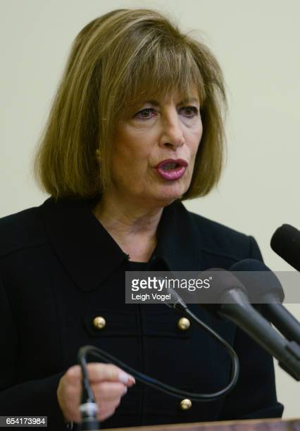 Congresswoman Jackie Speier speaks during a press conference after introducing legislation titled the Servicemembers Intimate Privacy Protection Act...