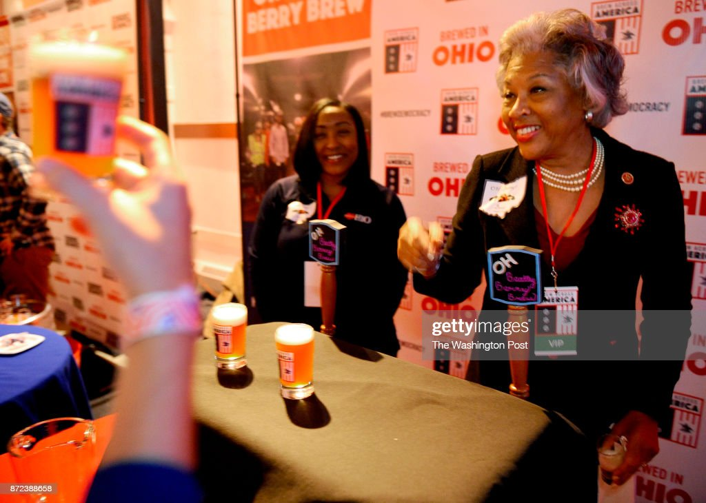 NOVEMBER 08, 2017- Congresswoman Joyce Beatty's (D-Ohio)Oh Beatty Berry Brew served her beer at the Brew Across America Congressional Beer Competition held at the Eastern Market on November 08, 2017 in Washington, D.C. Nine members of Congress with help from local breweries brewed their own beer that was judged by a panel of local media personalities.