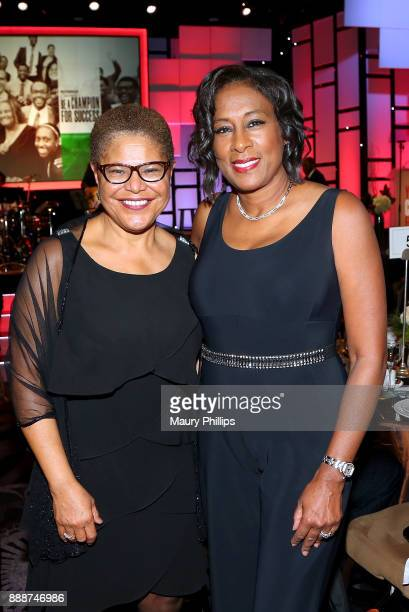 Congresswoman Karen Bass and Pat Harvey attends the 49th Annual Pioneer of African American Achievement Award dinner at The Beverly Hilton Hotel on...