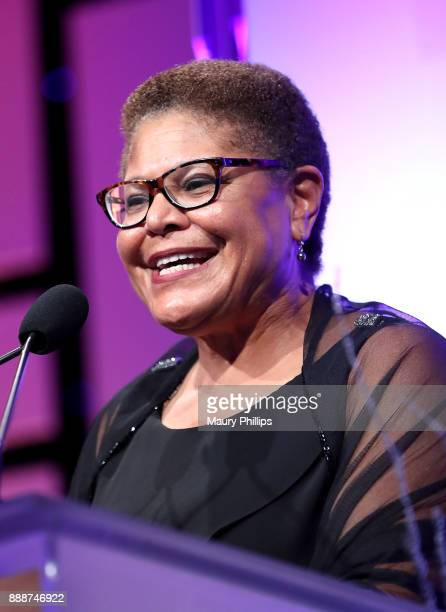 Congresswoman Karen Bass speaks during the 49th Annual Pioneer of African American Achievement Award dinner at The Beverly Hilton Hotel on December 8...