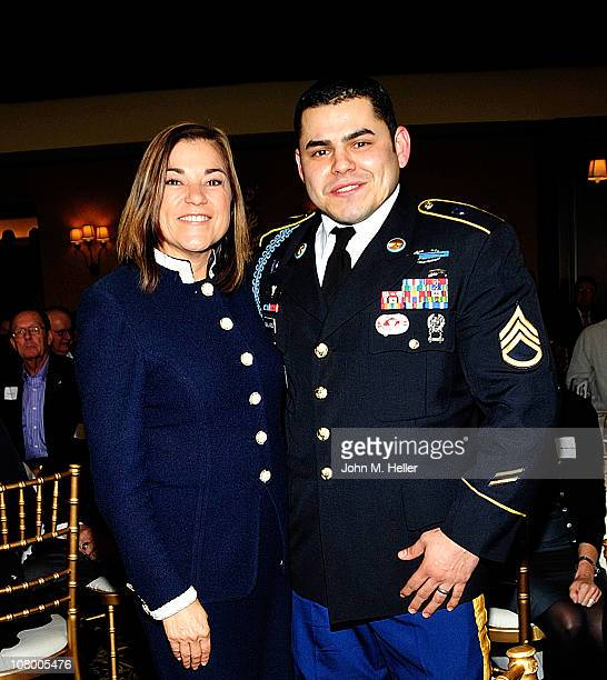 Congresswoman Loretta Sanchez Californias 47 District and Staff Sergeant Eric Gallardo recipient of the Silver Star for Bravery attend a luncheon at...