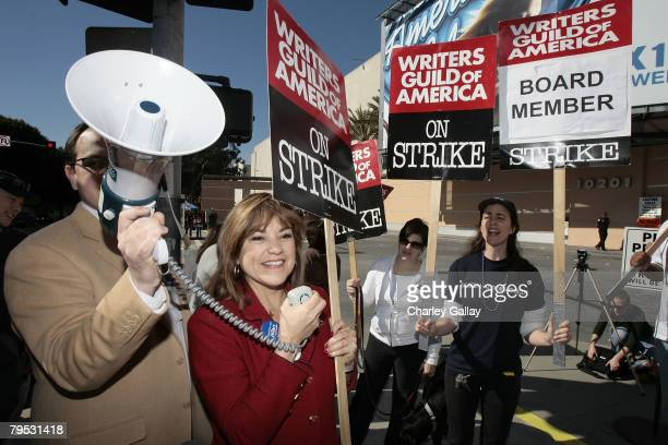 Congresswoman Loretta Sanchez joins striking writers at Fox Studios on February 5 2008 in Los Angeles California The protest comes in the wake of...