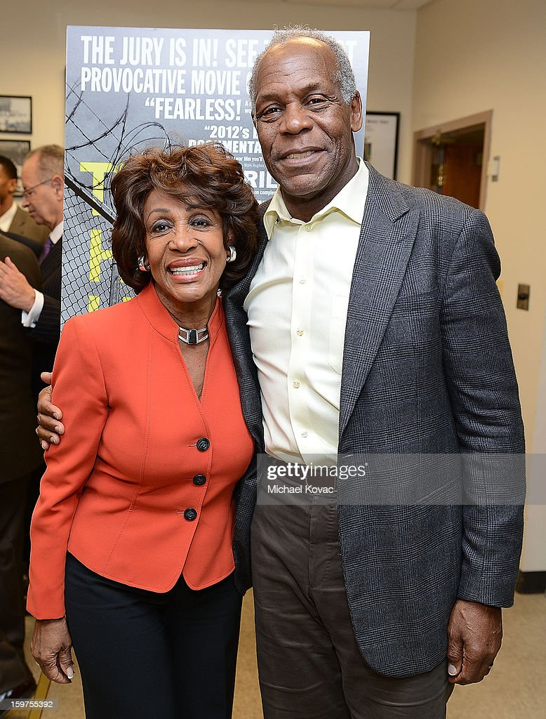 Congresswoman Maxine Waters (L) and actor Danny Glover attend 'The House I Live In' Washington DC screening at Shiloh Baptist Church on January 19, 2013 in Washington, DC.