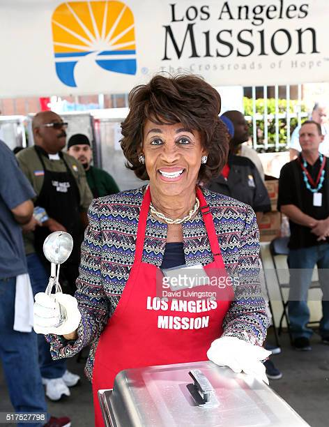 Congresswoman Maxine Waters attends the Los Angeles Mission's Easter Celebration Of New Life at Los Angeles Mission on March 25 2016 in Los Angeles...