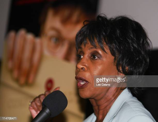 Congresswoman Maxine Waters during Congresswoman Maxine Waters Introduces 'Fahrenheit 9/11' to a SouthCentral Los Angeles Audience at Magic Johnson...