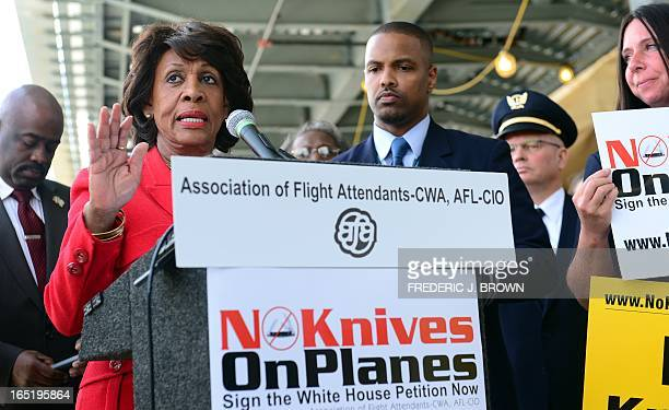 Congresswoman Maxine Waters speaks in suport of flight attendants and various employees for US airlines picketing at Los Angeles International...