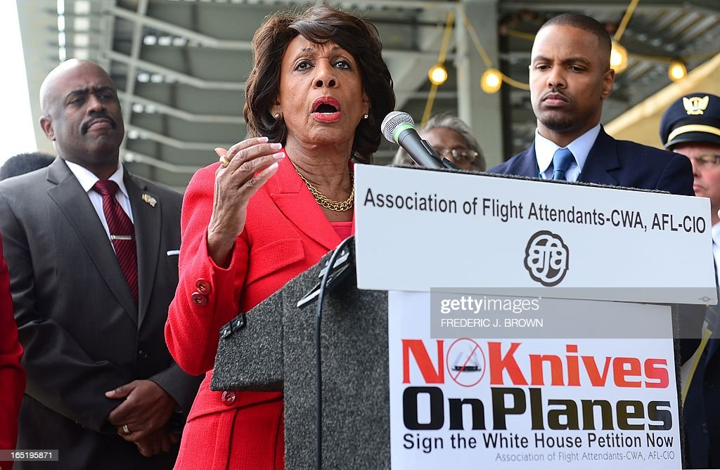 Congresswoman Maxine Waters speaks in suport of flight attendants and various employees for U.S. airlines picketing at Los Angeles International Airport's departure level demanding that small knives be kept out of their cabins on April 1, 2013 in Los Angeles, California. The TSA recently announced plans to allow small pocket knives aboard planes, aiming to increase enforcement against larger potential weapons by not worrying about smaller implements. AFP PHOTO/Frederic J. BROWN