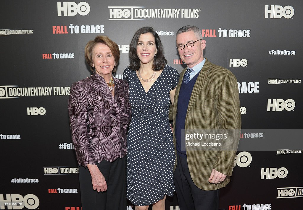 Congresswoman Nancy Pelosi, her daughter, filmmaker Alexandra Pelosi, and film subject, former NJ Governor Jim McGreevey attend the New York premiere of the HBO documentary Fall to Grace at Time Warner Center Screening Room on March 21, 2013 in New York City.